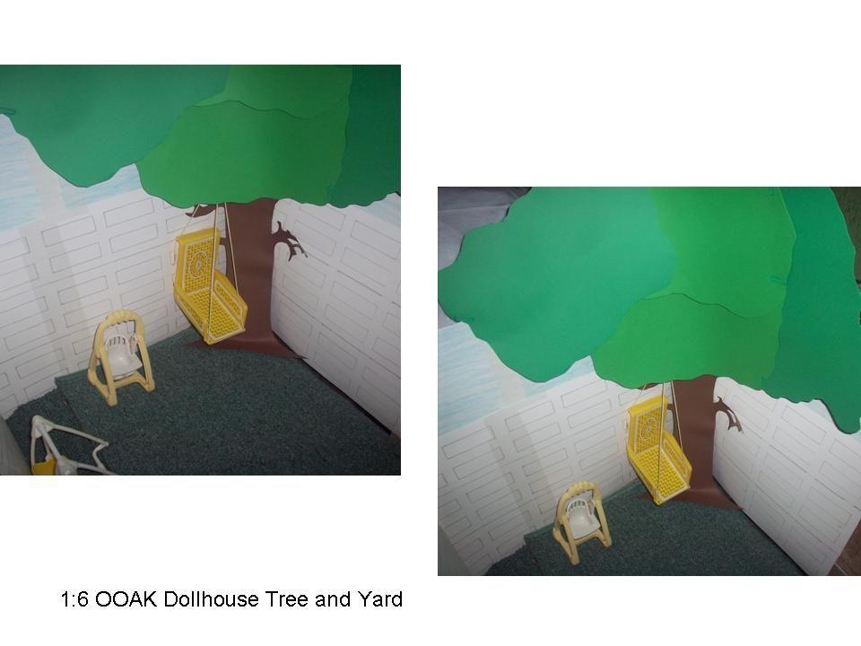 1:6 OOAK dollhouse tree and yard
