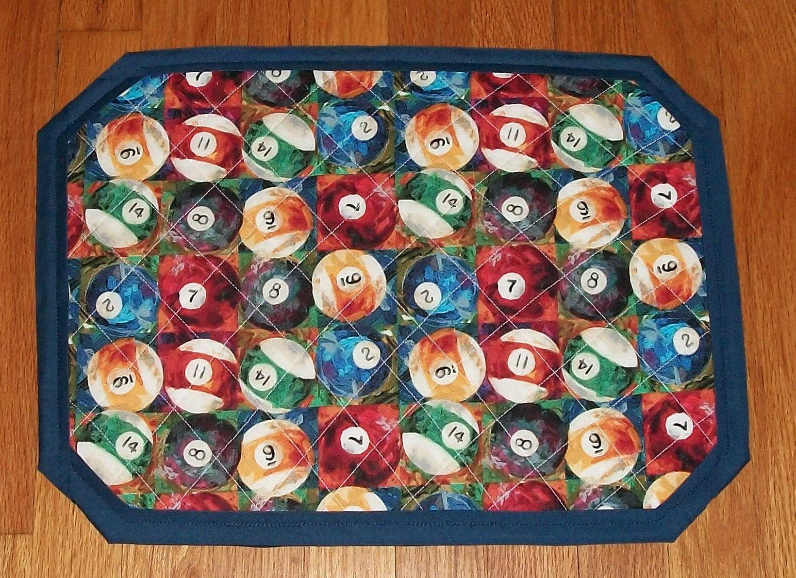 Billiard pool cue balls quilted placemat table mat