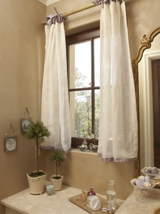 Beautiful And Creative Idea Of Curtain Tie Backs: Traditional Bathroom With White  Curtain Ribbon Ties With Silk Bed Skirt Fabric Lavender Banding Ties ...