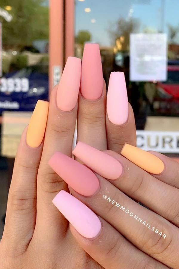 23 Nail Designs And Ideas For Coffin Acrylic Nails Hair Color Highlight Ideas Hair Color Ideas Hair Ideas Haircolo Vibrant Nails Acrylic Nails Peach Nails
