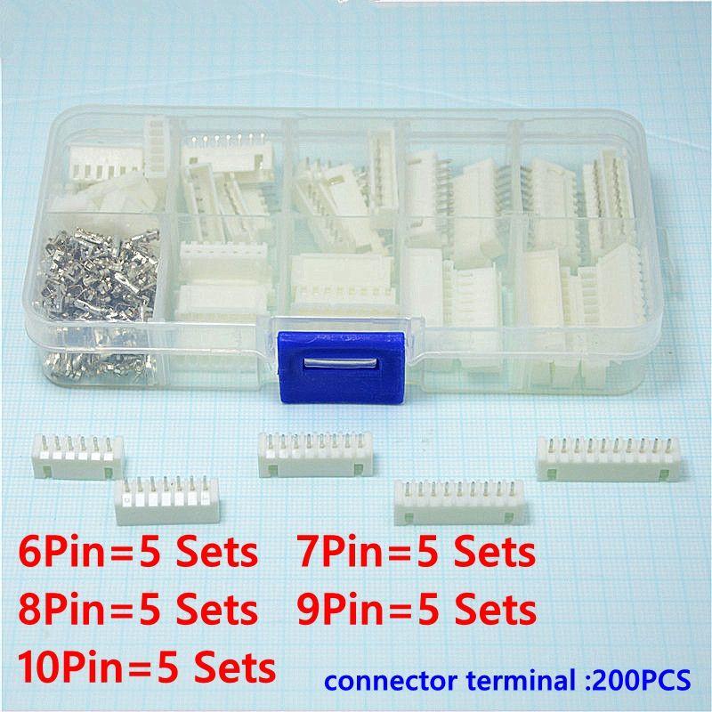 25 set Kit in scatola 6 p 7 p 8 p 9 p 10 pin 2.54mm Terminale passo/Custodia/Filo dei Pin del Connettore femmina Connettori Adattatore XH kit