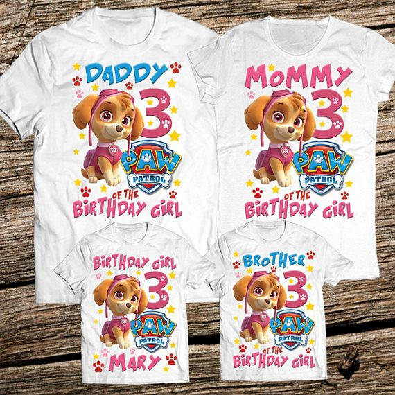 Mom and dad of birthday girl- Skye version, Paw patrol birtgday shirt, girl paw partol party, parents of paw patrol, skye birthday