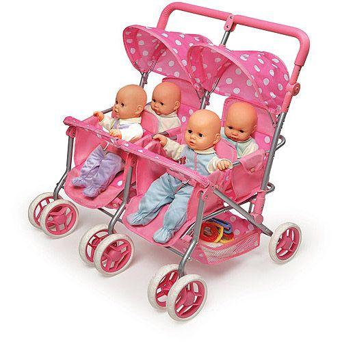 Badger Basket Quad Deluxe Doll Stroller Pink Polka Dots I