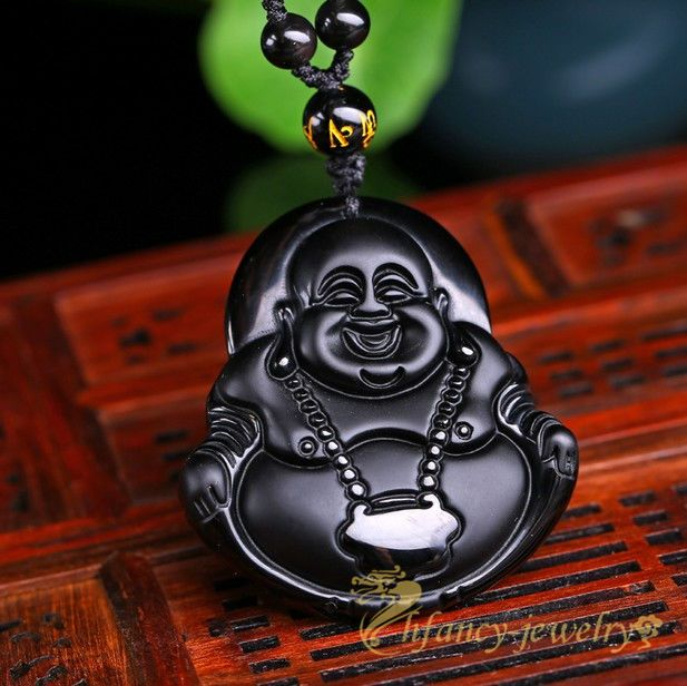 Beads Natural Black Obsidian Hand-Carved Lucky Buddha Amulet Pendant