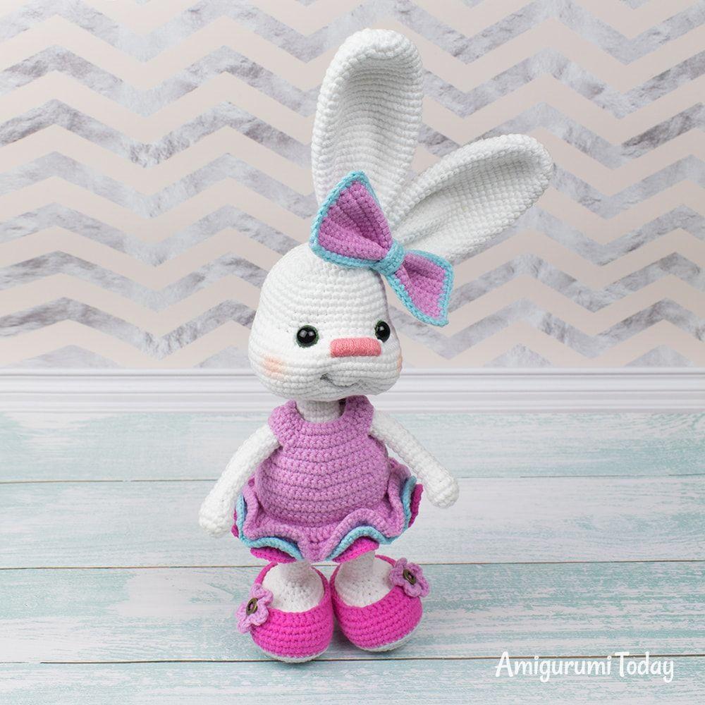 Amazon.com: HYST Pastel Rabbit Handmade Amigurumi Stuffed Toy Knit ... | 1000x1000