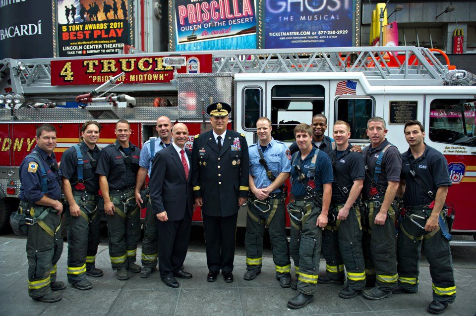 With New York Firefighters From Engine 55 During A Celebrating The U S Army S 237th Year Birthday At Times Square June 14 2 Army Fifth Generation Firefighter