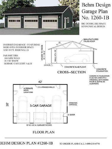 Garage Plans Oversized Three Car Garage Plan 1260 1b With