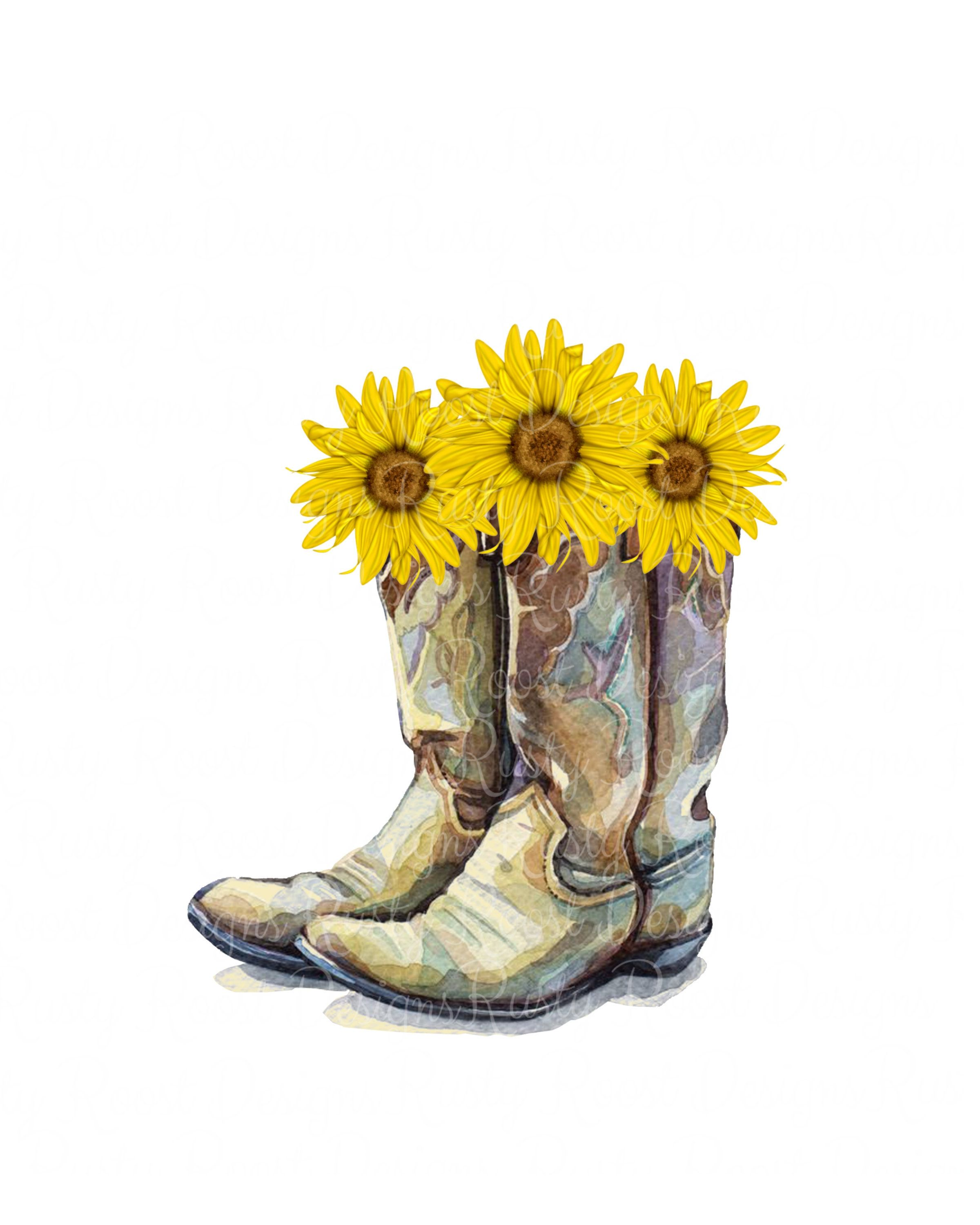 Cowgirl Boots With Sunflowers Graphic By Roxysvg26 Creative Fabrica