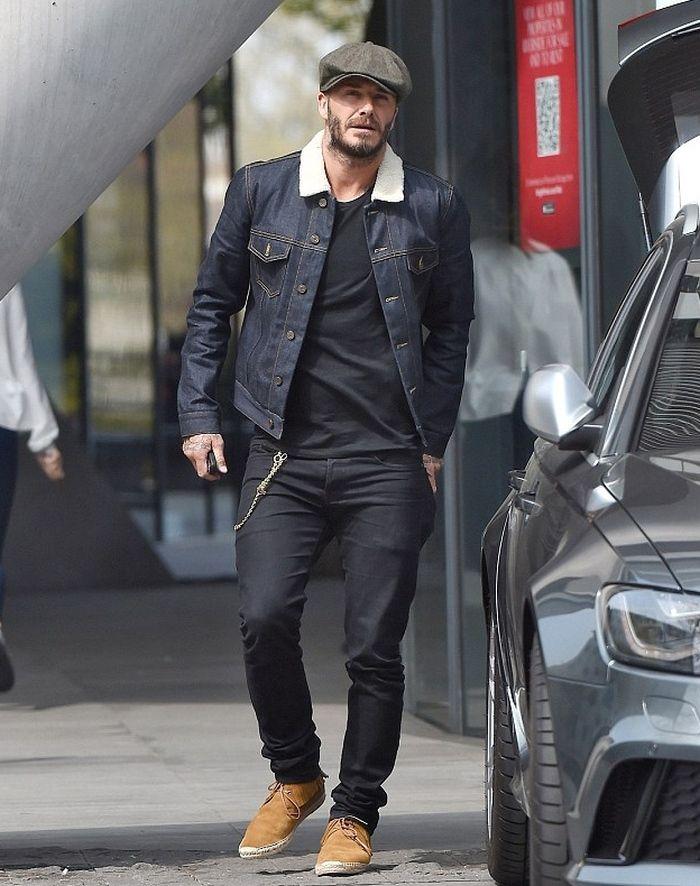 c4fcbc67813 David Beckham in a Raw Denim Jacket