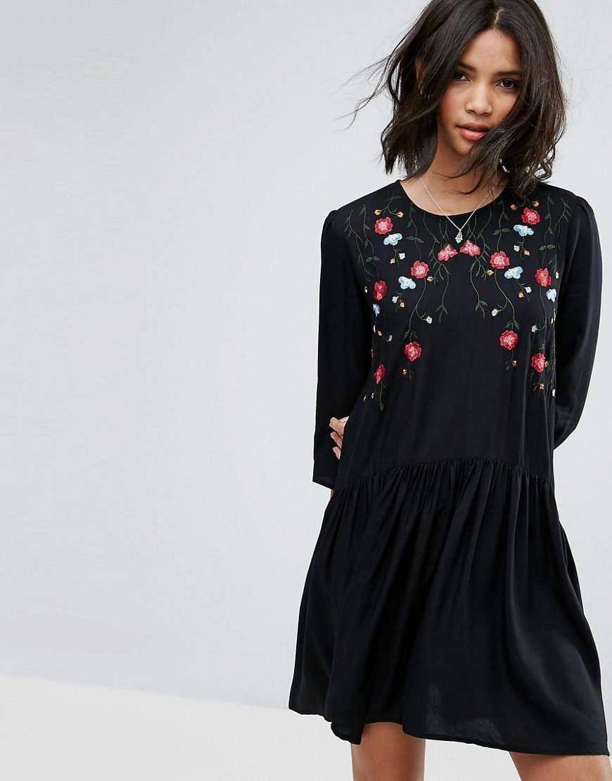 Embroidered Smock Dress - Black Only wIIrrwyk1a