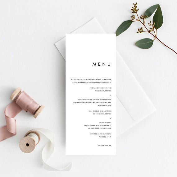 Simple Wedding Menu Template Modern Minimal Wedding Menu