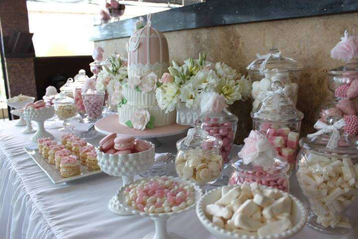 Pink White Engagement Party Ideas White Engagement Party Engagement Party Sweet Buffet