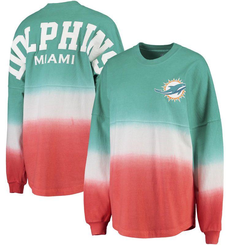 55fa925c Miami Dolphins NFL Pro Line by Fanatics Branded Women's Spirit Jersey Long  Sleeve T-Shirt - Aqua/Orange