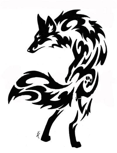Tribal Wolf And Fox Tattoo
