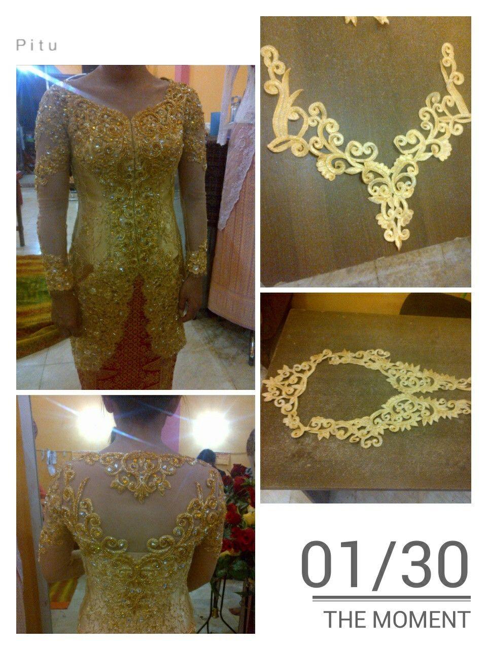 motif bordir pada kebaya pengantin dgn full payet  Payet
