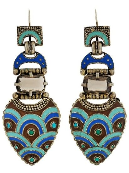 Art Deco Peacock Earrings
