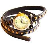 Britanny Wrap Watch Leather Bracelet Black