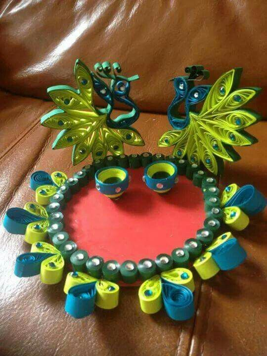 Pooja thali amazing quilling pinterest quilling for Aarti thali decoration designs