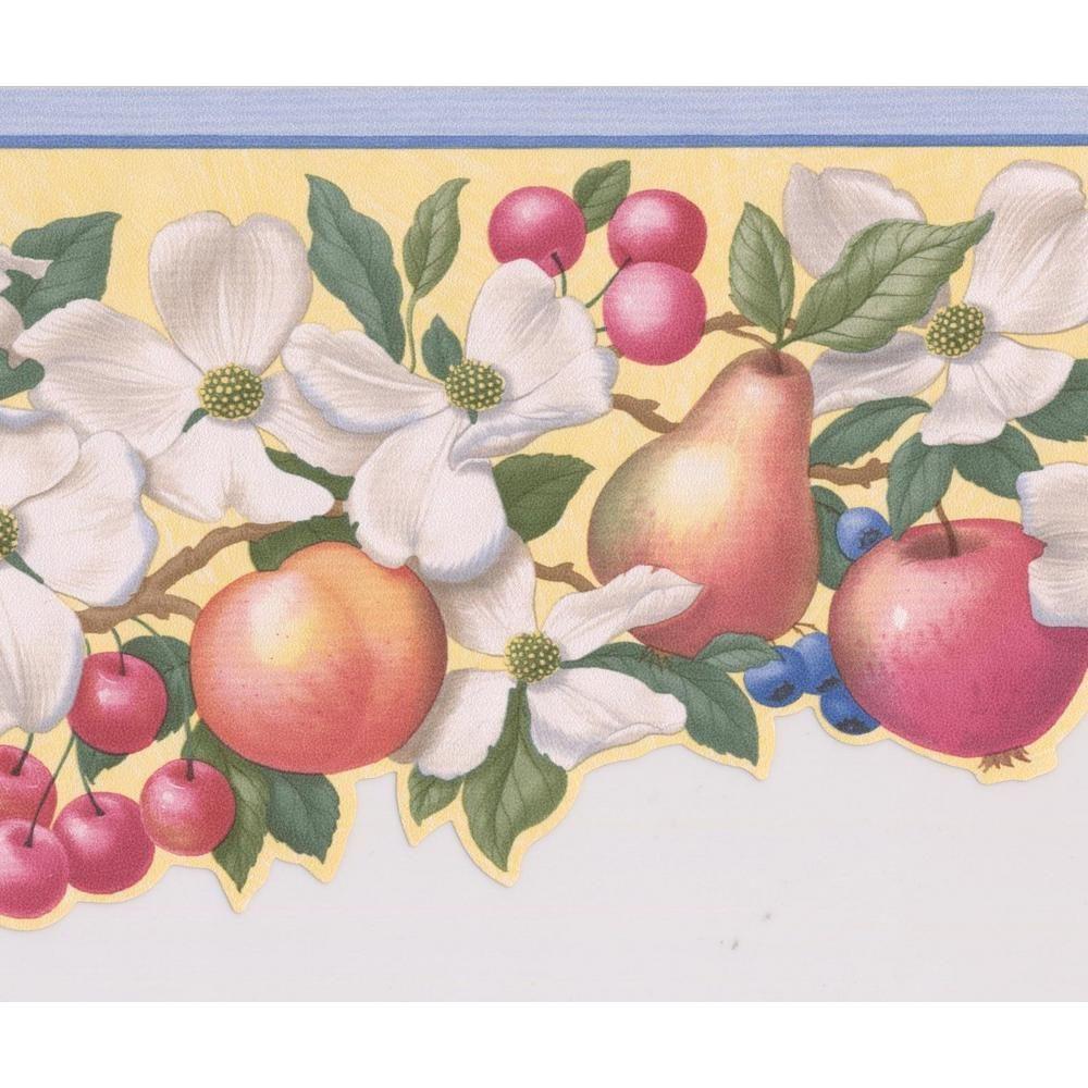 Retro Art Fruits Apple Pear Cherry Peach Blueberry and