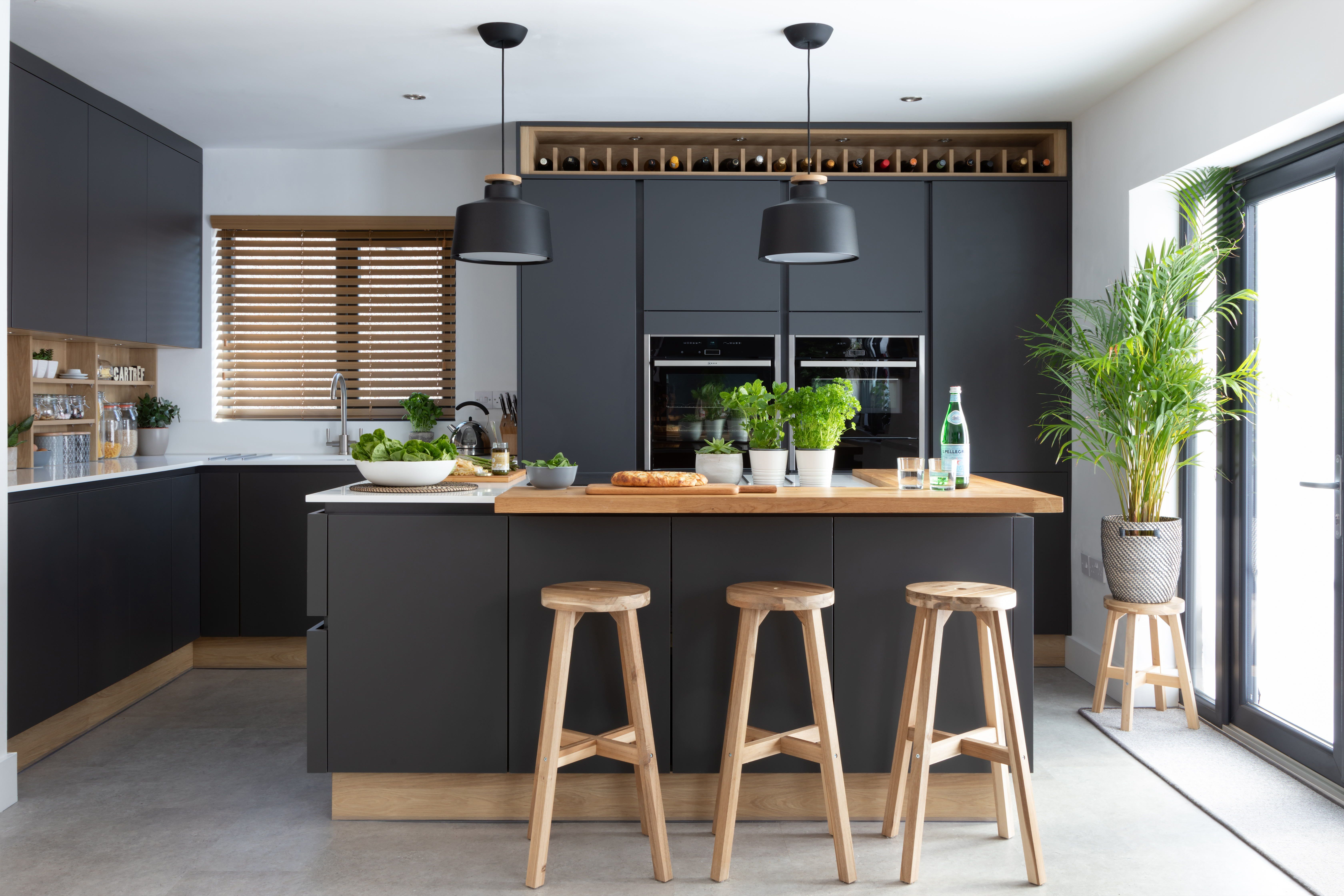 Stunning modern handleless kitchen mixing dark grey and ...