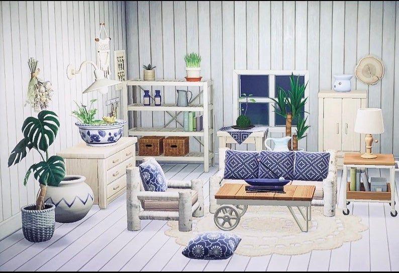 Animal Crossing Acnh Blue Boho Chic Living Room Etsy New Animal Crossing Interior Design Animals Animal Crossing Game