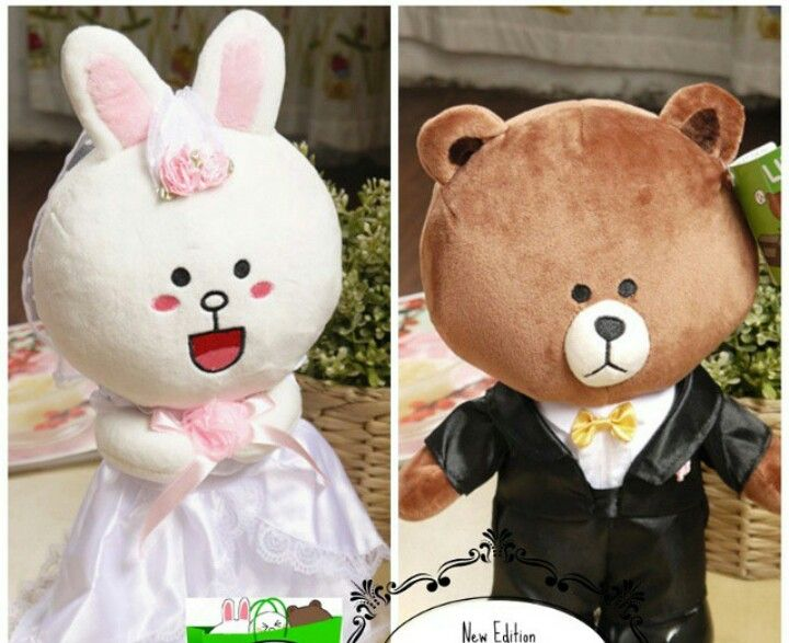 Love Plush Dolls Brown Bear And Bunny Cony Couple Bride-Groom Wedding Gift