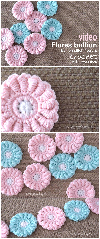 Crochet: flores bullion paso a paso! Crochet bullion stitch flowers ...