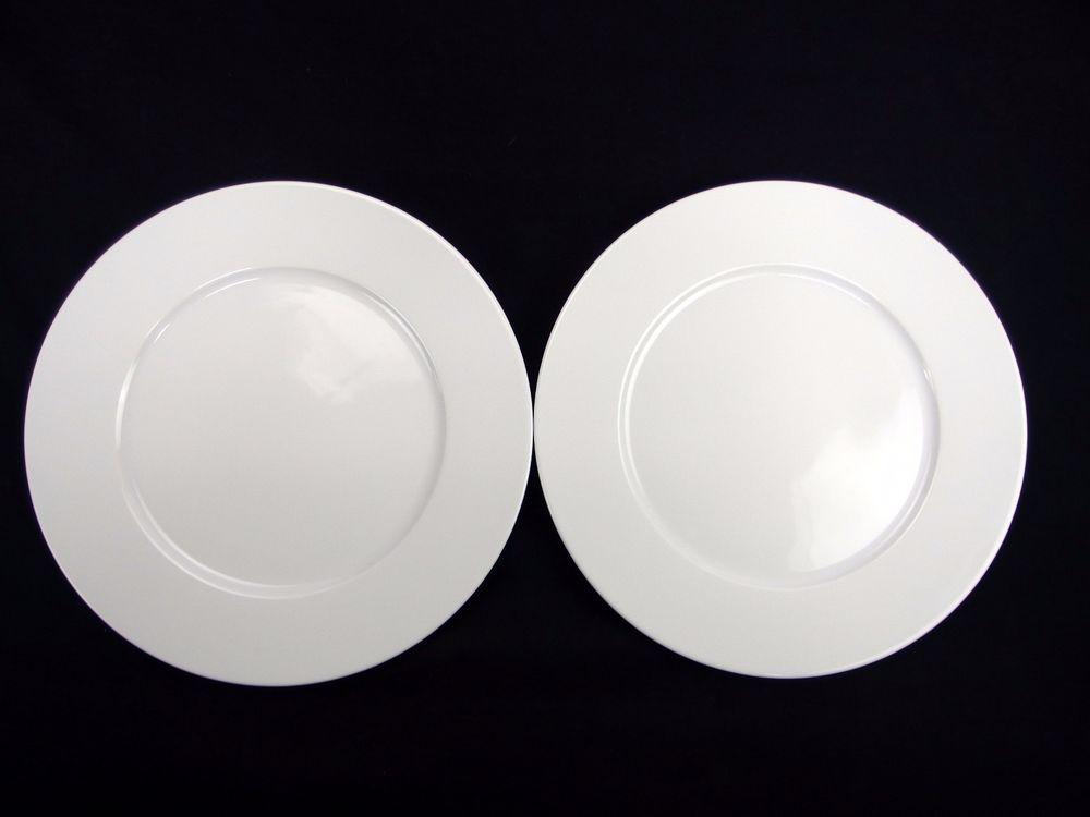 2 Khala Khl122 Plain White Smooth Rim No Trim Dinner Plates 10 3 4