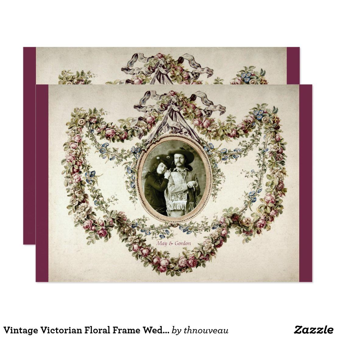 Vintage Victorian Floral Frame Wedding Invitation Vintage