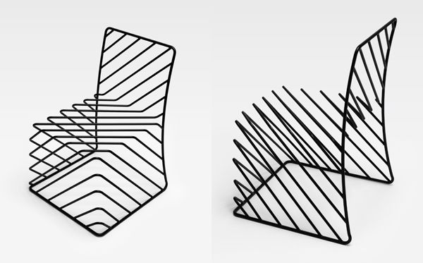 thin black lines chair, akihiro ito