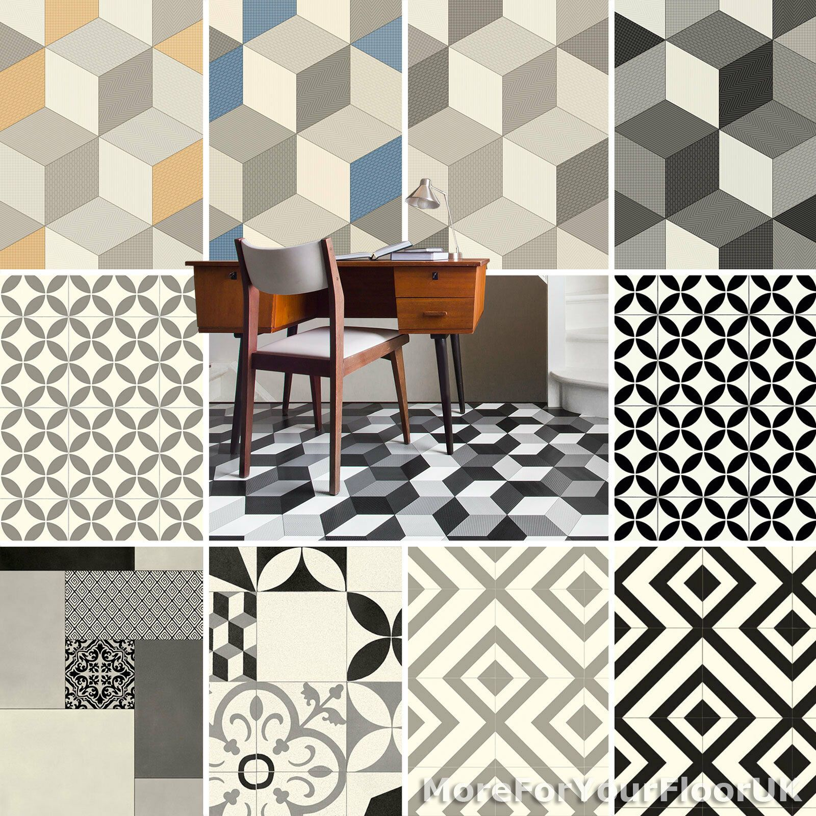 Details About Pattern Vinyl Flooring Modern Cubes Retro Tiles