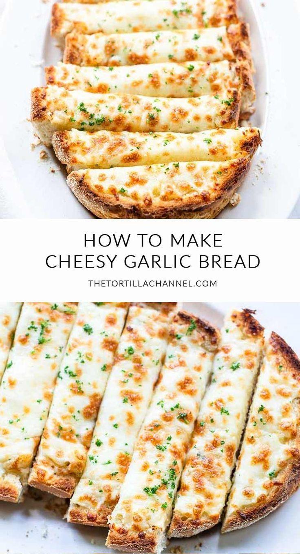 Cheesy garlic bread made with garlic butter, parmesan and mozzarella 🍴. Visit thetortillachannel.com for the full recipe 🍞 #thetortillachannel #garlicbread #cheesygarlicbread #cheesybread #garlicbreadrecipe