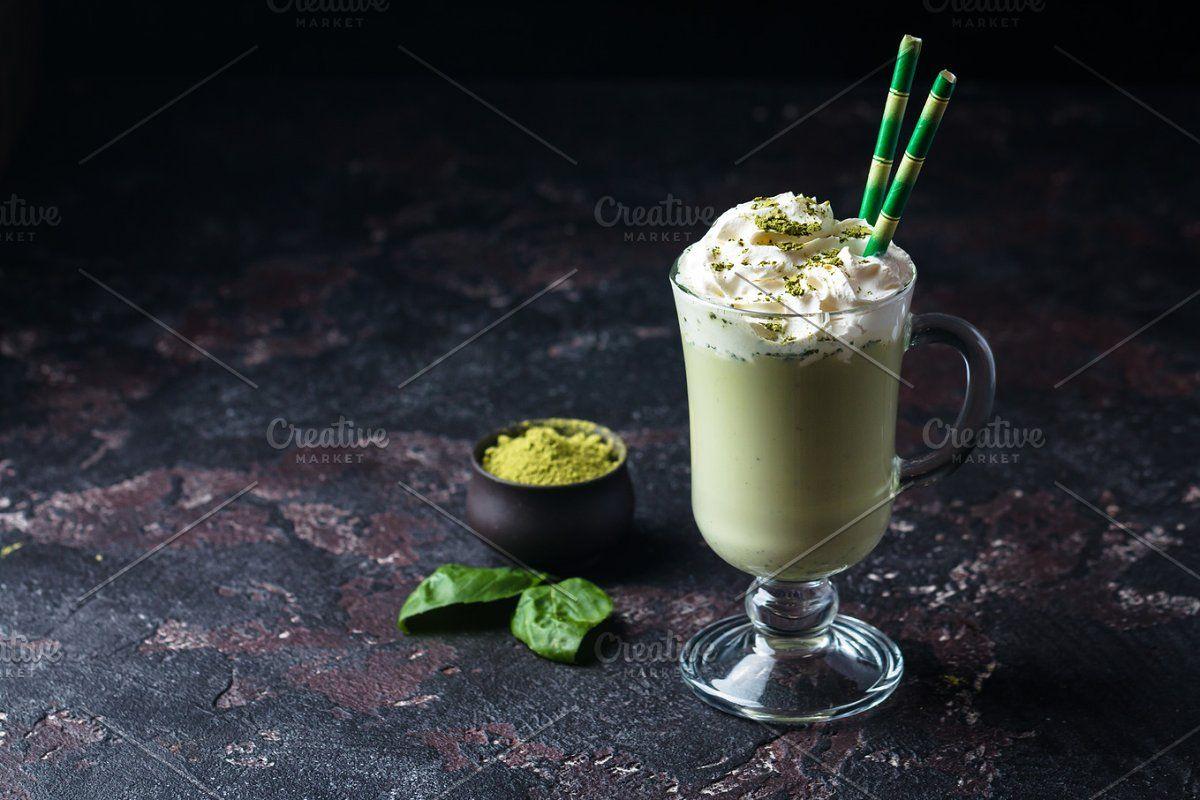 Photo of Green tea matcha latte #Sponsored , #paid, #glass#cup#black#latte