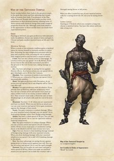 Prophecy Domain Cleric and Way of the Tattooed Temple Monk