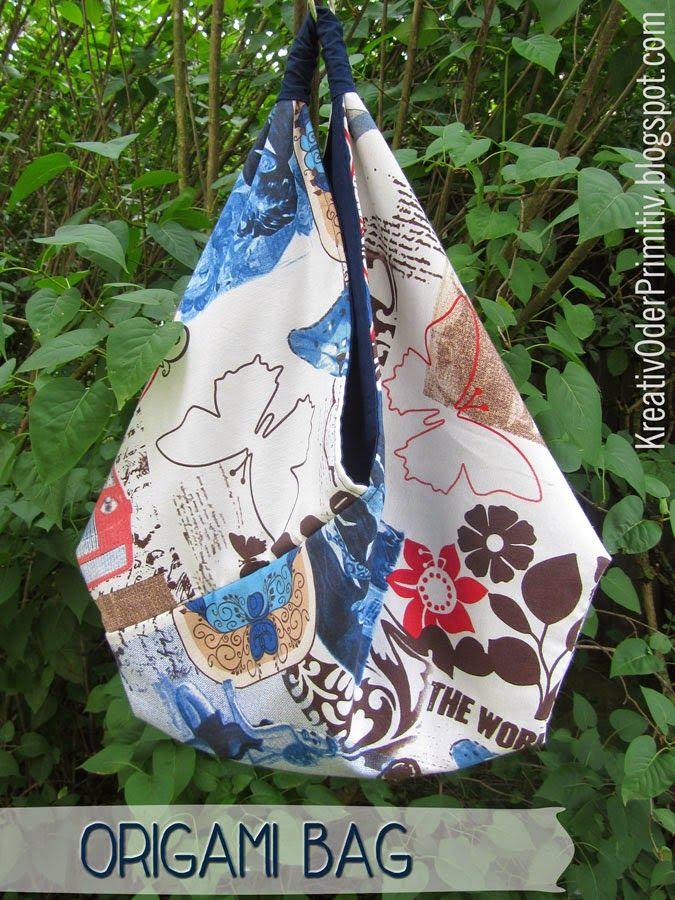 Origami Bag, Tasche, schnell, one cut, anfänger, stoff, Anleitung ...