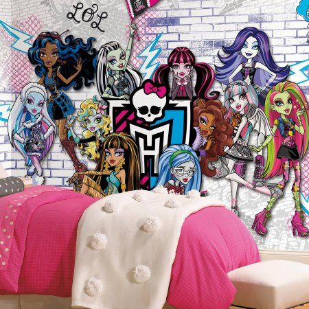 Monsters High XL Chair Rail Prepasted Mural, 6' x 10.5', Ultra-Strippable, Multicolor
