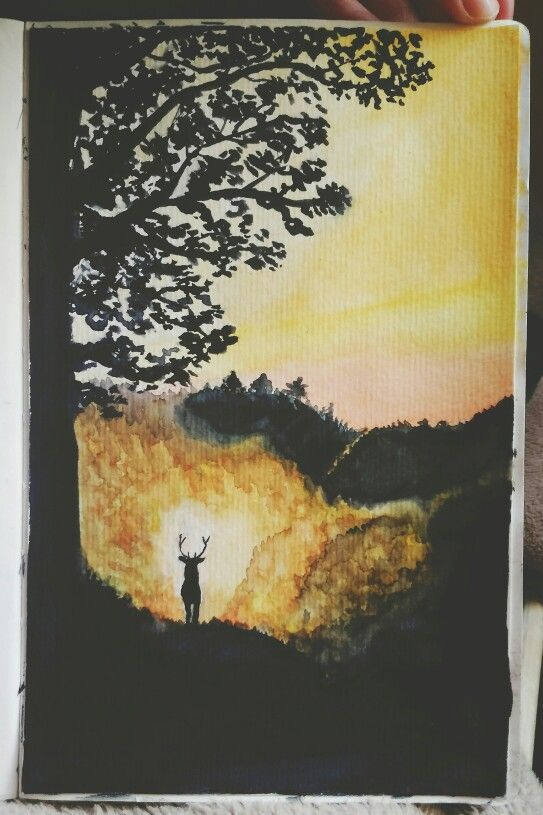 another watercolor by me this one was a bit difficult to draw watercolor landscape drawing draw wild painting deer silhouette tree autumn