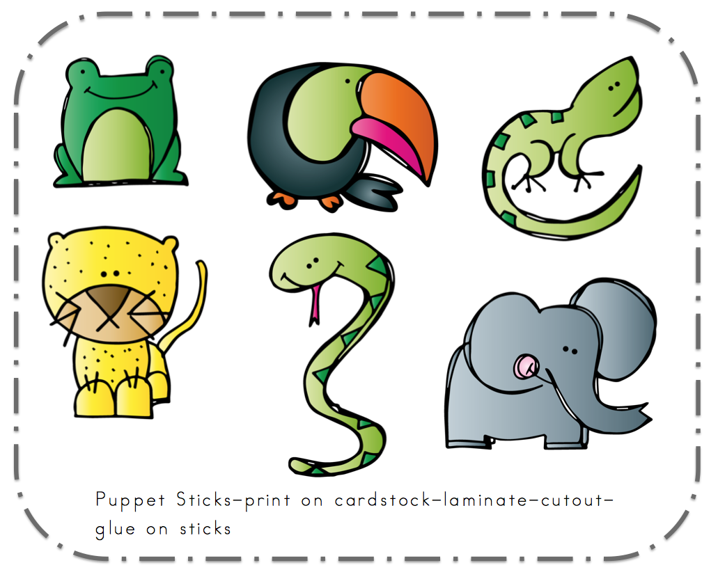Preschool Printables Free Rainforest Puppet Sticks