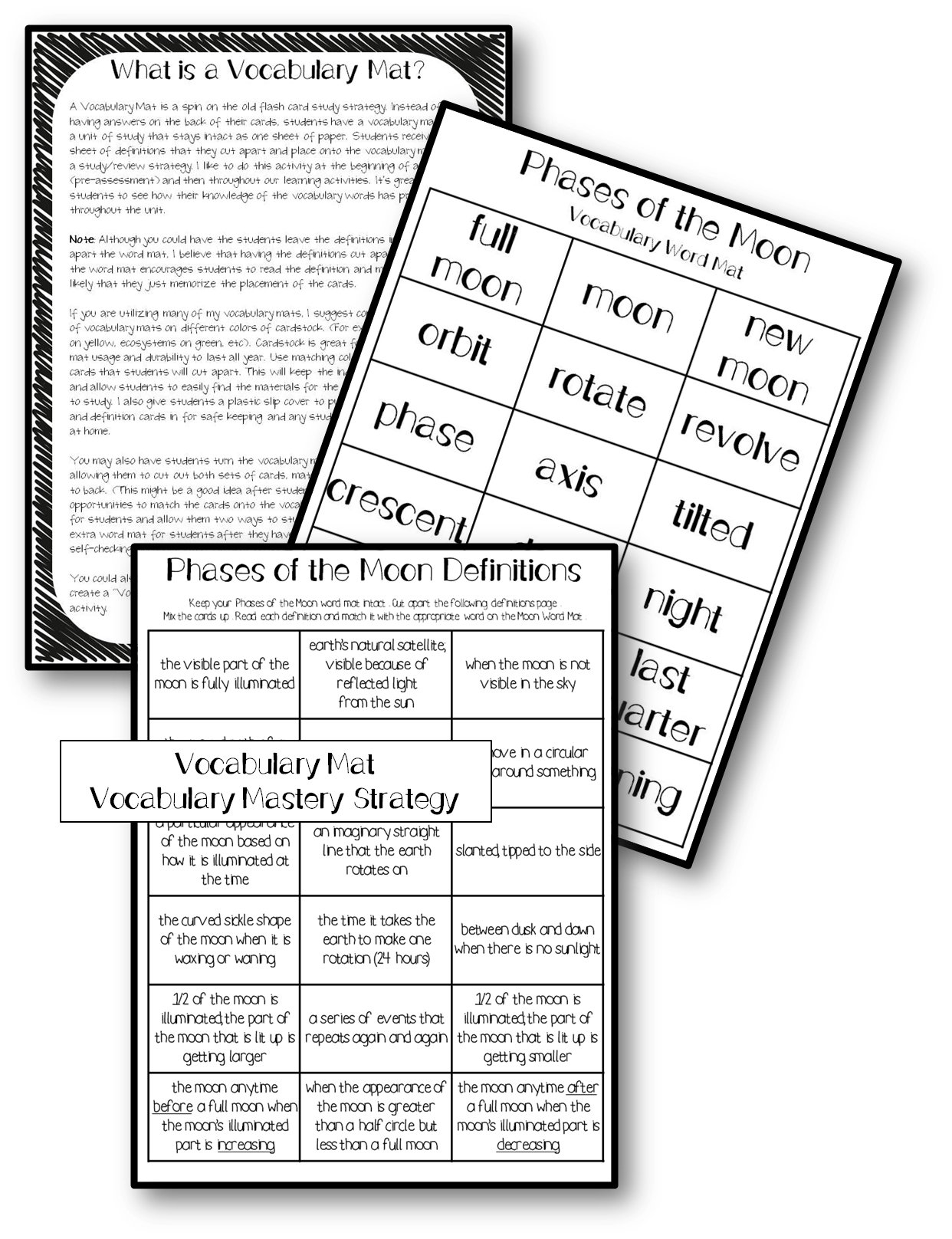 Phases Of The Moon Vocabulary Activity Pack Vocabulary