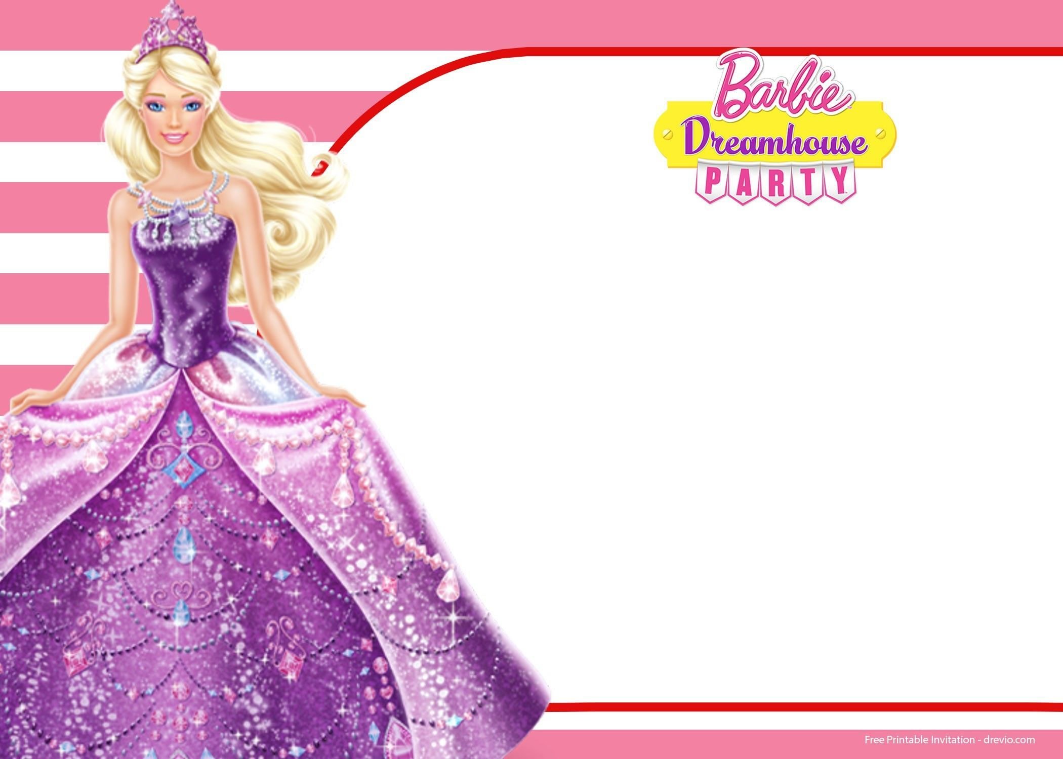 Barbie Invitation Blank  Barbie invitations, Free barbie, Barbie