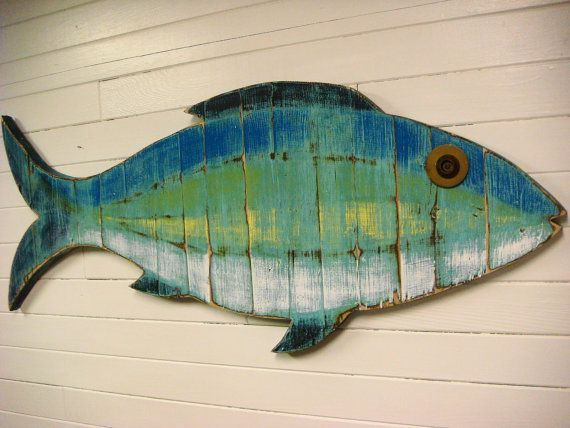 Wooden Fish Wall Decor rustic wooden fish, wooden rustic fish, painted string of fish