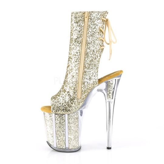 4d40b74d763b Pleaser 8 Inch Fetish Shoes FLAMINGO-1018G Pleaser Sexy Shoes 8 Inch Heel  Platforms Open Toe Back Glitter Ankle Boots Sexy Pole Dancing Shoes with 8  Inch ...