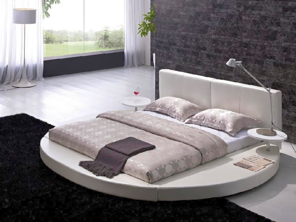 3d554302e0ec Modern Round Bed Design with White Leather in Black and White Bedroom  Interior Comfy Bedroom