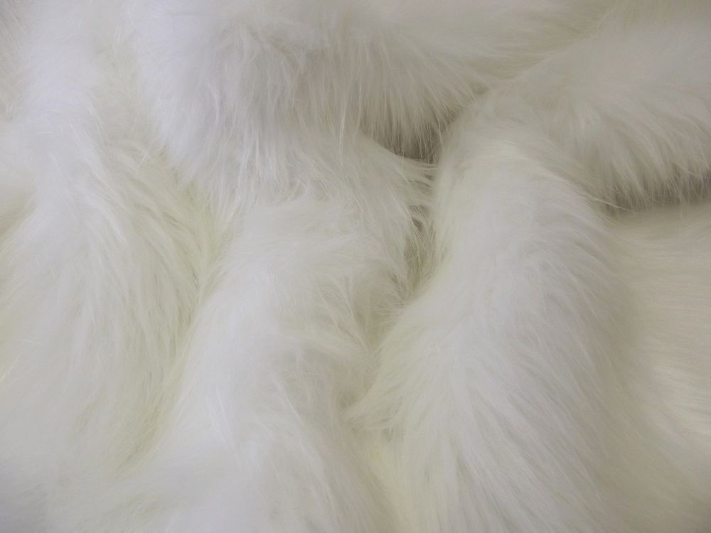 Super Luxury Faux Fur Fabric Material Long Pile Bright White Faux Fur Fabric Fabric Material Bright White