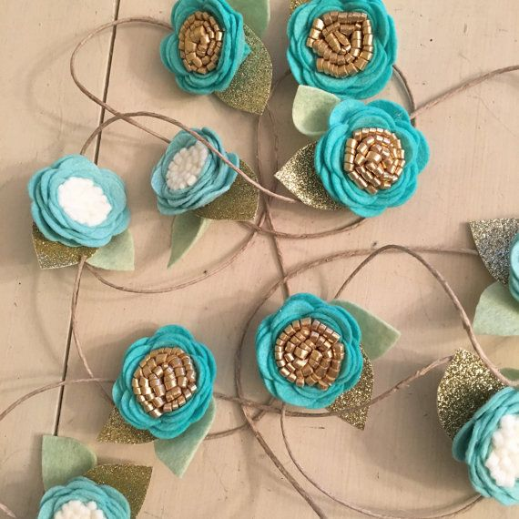Custom Felt Flower Garland // Felt Flowers by LittleBungalowDesign