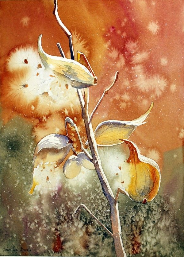 Milk Weeds In Brown And Green Susan Avis Murphy Watercolour