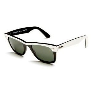56bf8d1676813 Ray Ban  Wayfarer II  sunglasses. These plastic frames are black   white 2  tone. Features silver Ray Ban logo on arms   lens.