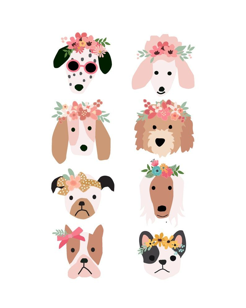 Puppy Dog Faces With Flower Crowns Posters For Party And Etsy In 2021 Dog Themed Birthday Party Dog Birthday Puppy Birthday Parties