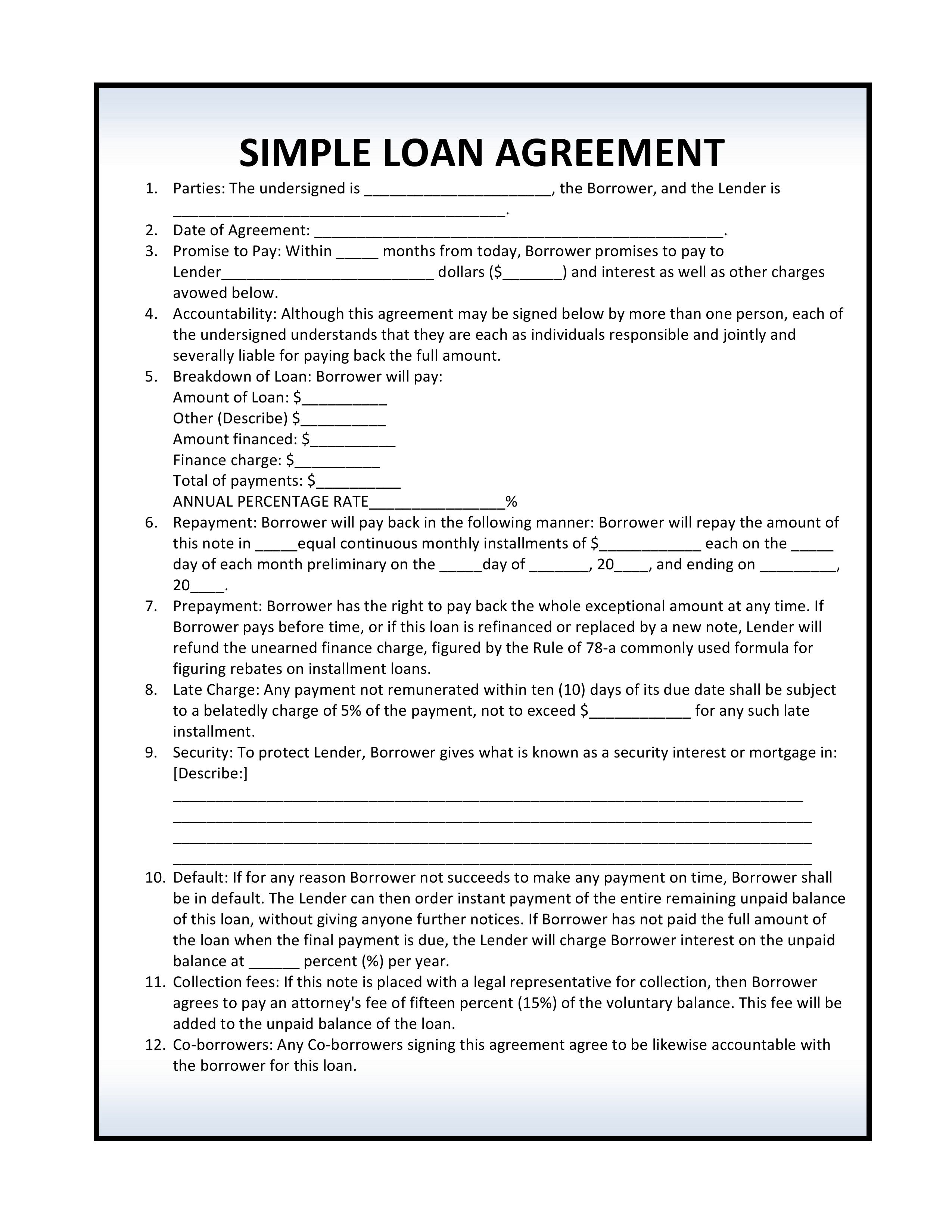 Free Simple Loan Agreement