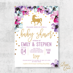 Unicorn Themed Baby Shower Invitation Digital Baby Shower